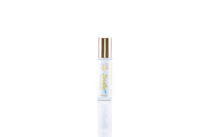 Breathe, Pure Aromatherapy Roll on blend formulated for allergies or congestion, featuring tea tree and eucalyptus