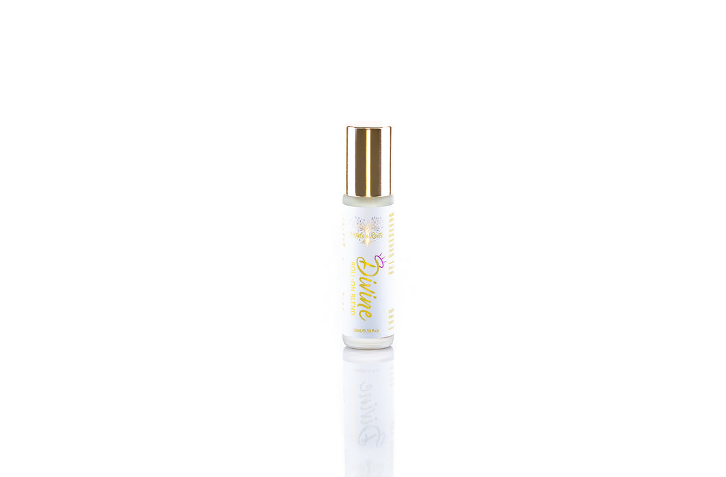 Divine pure aromatherapy roll on blend, soothing and calming, featuring lavender vanilla and Hawaiian sandalwood, all natural perfume
