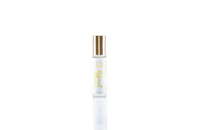 Refresh pure aromatherapy roll on blend, energizing, uplifting, mood enhancing essential oils, lemony citrus ginger and herbal notes