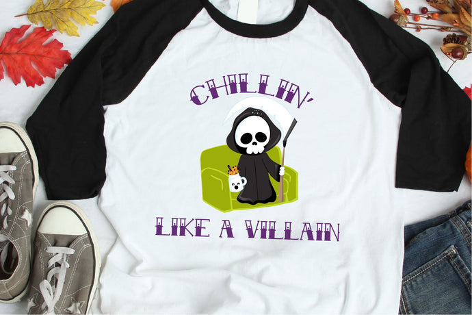 Chillin Like A Villain, Halloween SVG - Crafty Mama Studios