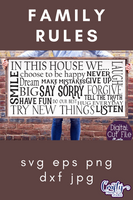 Family Rules Farmhouse Sign SVG