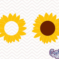 Sunflower Svg, Sunflower Monogram Svg, Sunflower Clipart, svg, dxf, eps, png, Cut File, Silhouette, Cricut, Digital Download