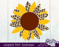 Leopard Print Sunflower Svg
