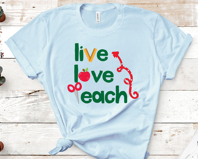 Live Love Teach, Teacher SVG - Crafty Mama Studios