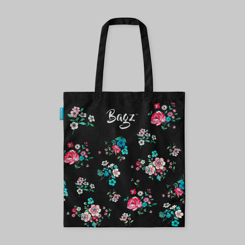 FLOWERS | BLACK | TOTE BAG