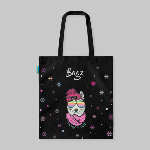 SKIING DOG | BLACK | TOTE BAG