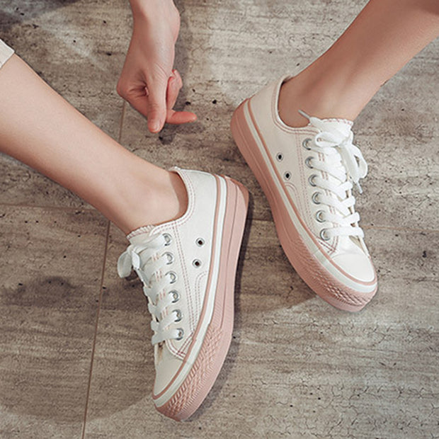 Casual breathable lacing mixed color flat canvas shoes