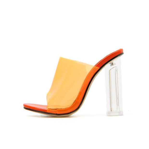 Women's Fashion Solid Color Transparent High Heels