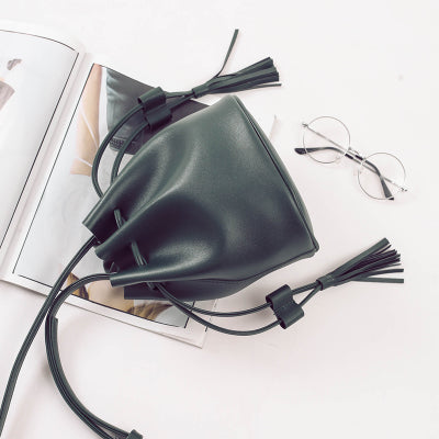 Tassel Mini Bucket Crossbody Bag