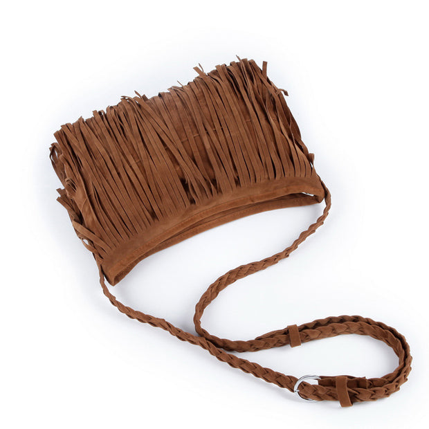 Leather Suede Tassel Cross Body Bag