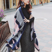 Casual Fashion Wool Spinning Floral Two Purpose Cape Scarf