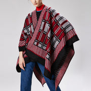 Retro Fashion Casual Rectangle Plaid Thermal Cape Scarf