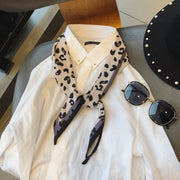 Autumn And Winter Chiffon Korean Scarf Leopard Scarf Simulation Silk Scarf Shirt Ribbon Decoration