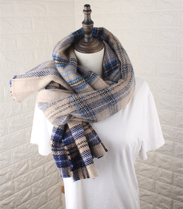 Casual Fashion Woolen Plaid Thermal Rectangle Cape Scarf