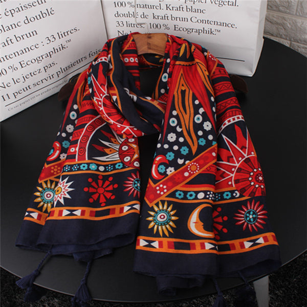 Bohemia Vacation Casual Thermal Floral Rectangle Fringe Bottom Cape Scarf