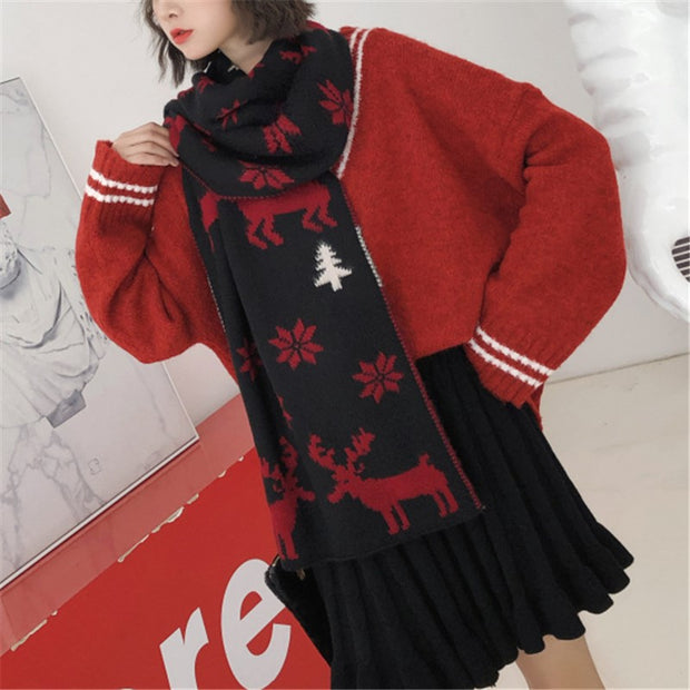 Christmas gift knitted warm cape elk snowman snow scarf