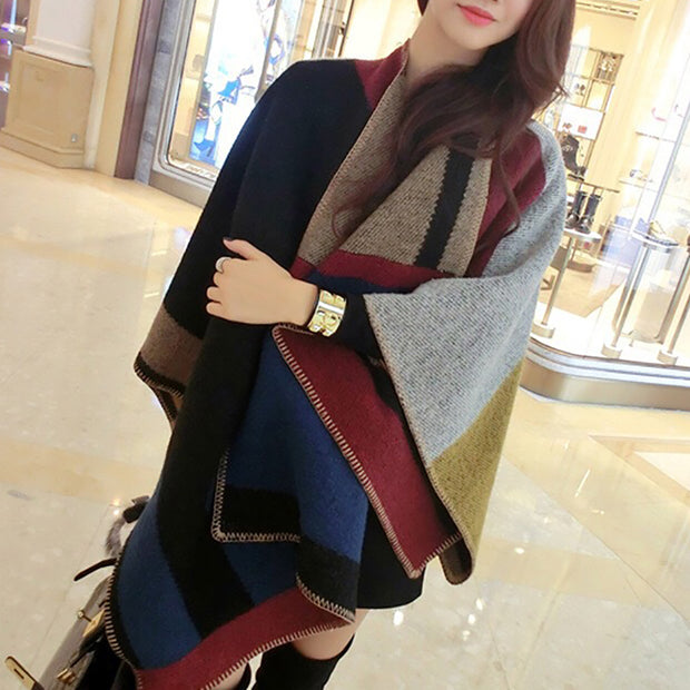 Elegant Colorful Wool Shawl Scarf