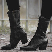 Fashion High Heel Middle Height Leather Boots