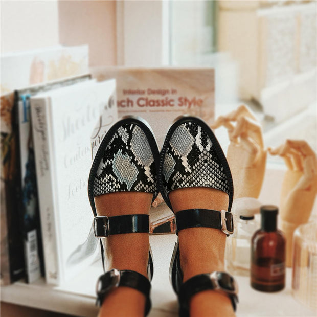 Fashion Blue Patchwork Buckle Flat Sandal