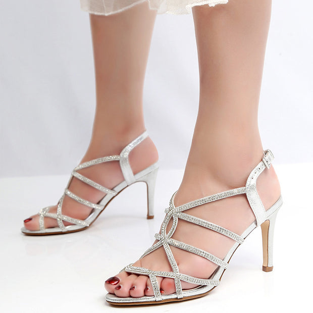 Euramerican Style Rhinestone Hollowed-Out Decussated Design Sandals Heels