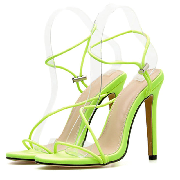 Euramerican Style Contracted Fluorescence Color Sandals Stiletto Heels