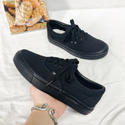 Women's Fashion Casual Wild Breathable Canvas Solid Color Sneakers