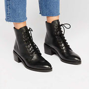 Euramerican Style Pure Color Lace-Up Martin Boots