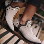 Women's Fashion Casual Solid Color Low Heel Pointed Ankle Boots