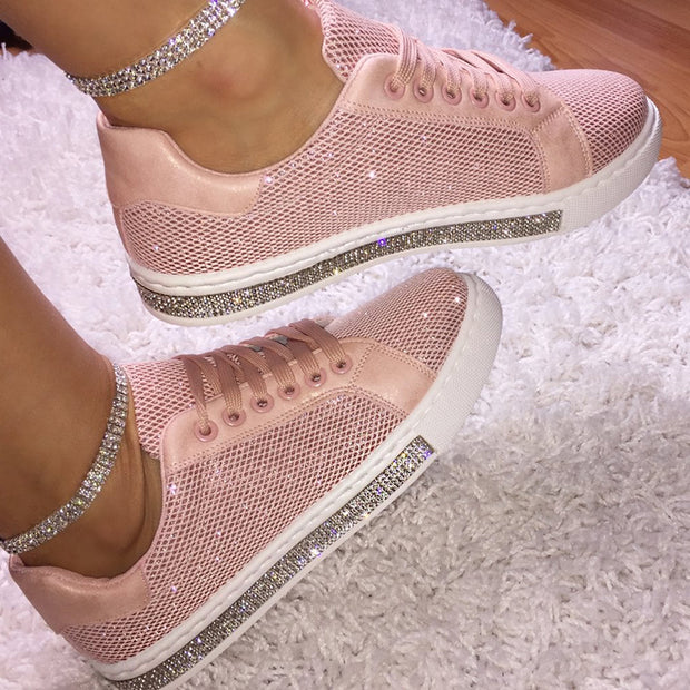 Women's Fashion Solid Color Rhinestone Decorative Mesh Breathable Casual Shoes