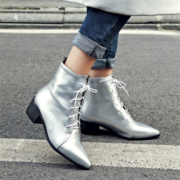 Contracted Lace-Up Pointed Toes Kitten Heels Ankle Boots