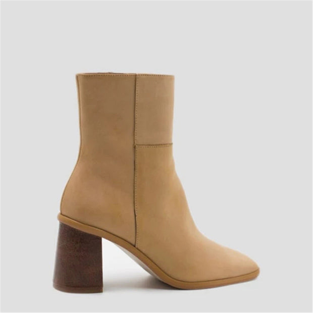 Fashion vintage chunky heel square toe boots