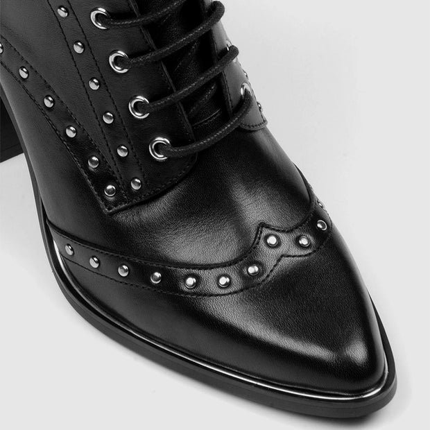Women's high-heeled pointed rivets with low boots