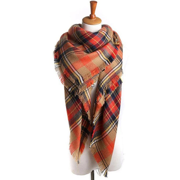 Fashion ladies grid scarf wrap-around shawl