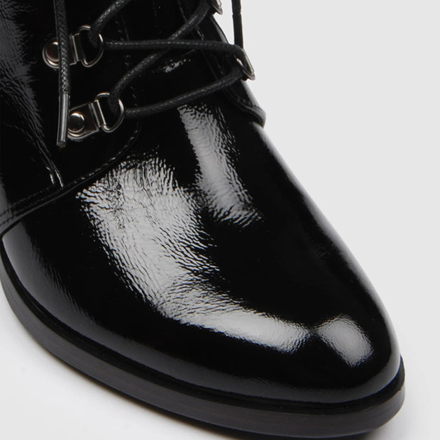 Ladys stylish lacquered leather lace-up heels ankle boots