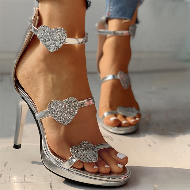 New women's sandals with sequined buckle