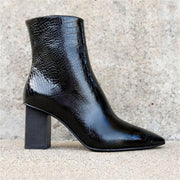 Ladys stylish pointy snake-print leather heel ankle boots