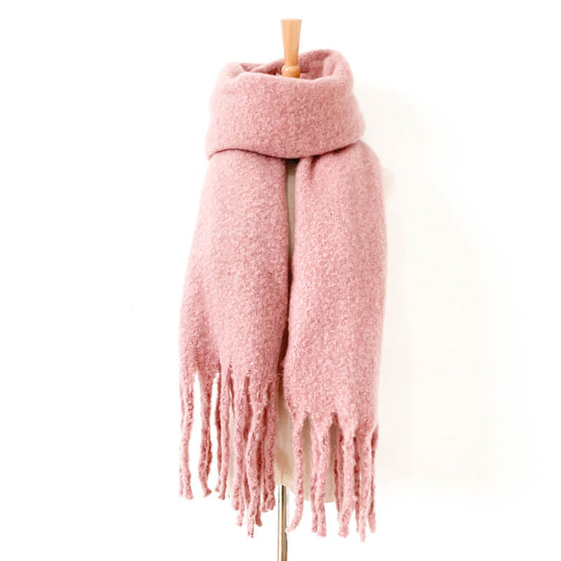 Thick fringed circle sand solid color scarf shawl