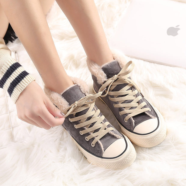 Women's casual solid color suede plus velvet sneakers