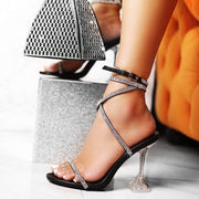 Rhinestone Lace Up Heel Sandals