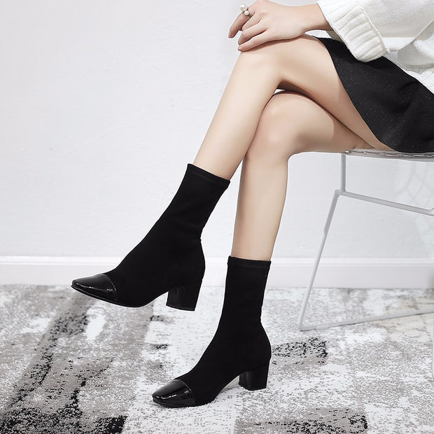 Fashion square head thick with elastic stovepipe socks women's boots