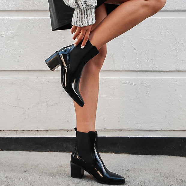 Sexy pure color chunky heels ankle boots