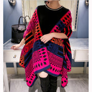 Autumn and winter new fashion show fashion geometric color shawl thick warm scarf cloak