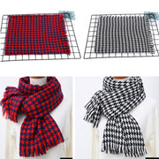 Fashion Plaid Scarf Female Houndstooth Long Section Male Collar Split Side Warm Big Shawl