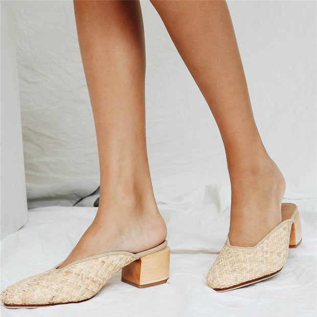 Fashion High Heel Square Head Ladies Slippers