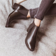 Women's solid color simple Chelsea boots