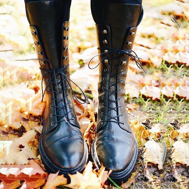 Round head straps in the tube knight women's boots