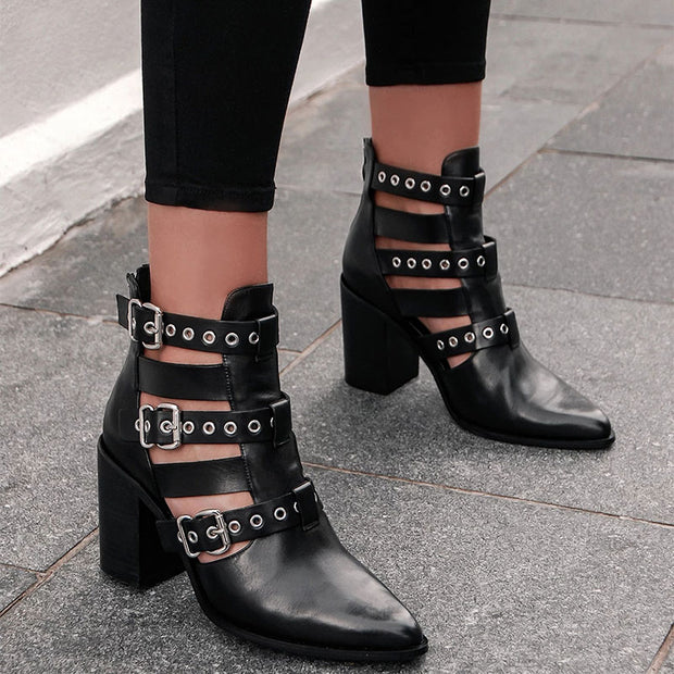 Womens stylish cut-out lace-buckle ankle boots