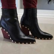 Women's casual solid color studded pointed high heel boots