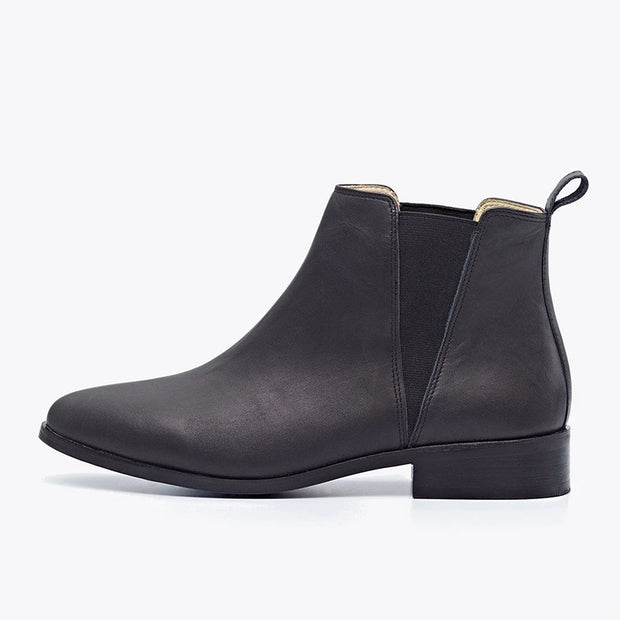 Womens simple suede leather elastic ankle boots
