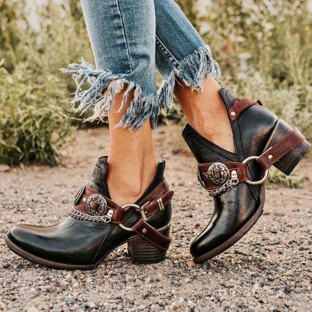 Women's Vintage Round Ankle Boots